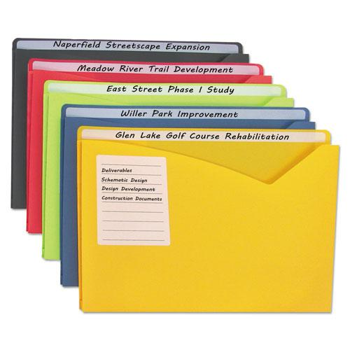 Write-On Poly File Jackets, Straight Tab, Letter Size, Assorted Colors, 25/Box. Picture 1