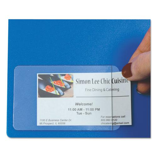 Self-Adhesive Business Card Holders, Side Load, 2 x 3 1/2, Clear, 10/Pack. Picture 2