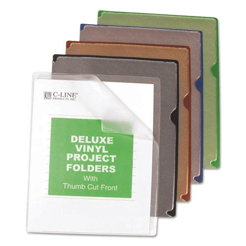 Deluxe Vinyl Project Folders, Letter Size, Assorted Colors, 35/Box. Picture 1
