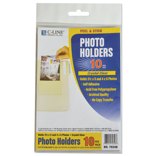 Peel & Stick Photo Holders, 4 3/8 x 6 1/2, Clear, 10/Pack. Picture 3