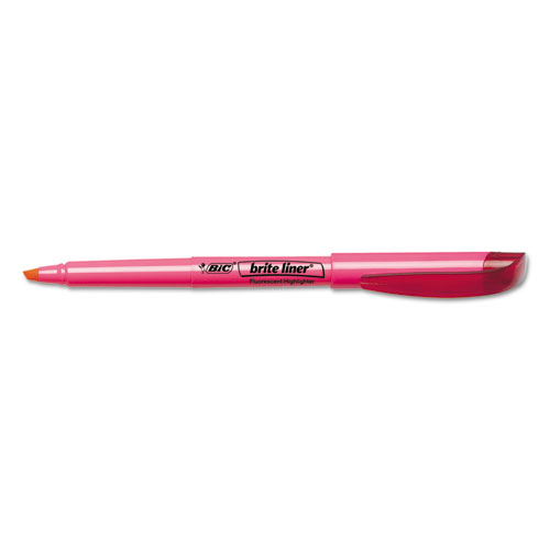 Brite Liner Highlighter, Chisel Tip, Fluorescent Pink, Dozen. Picture 2