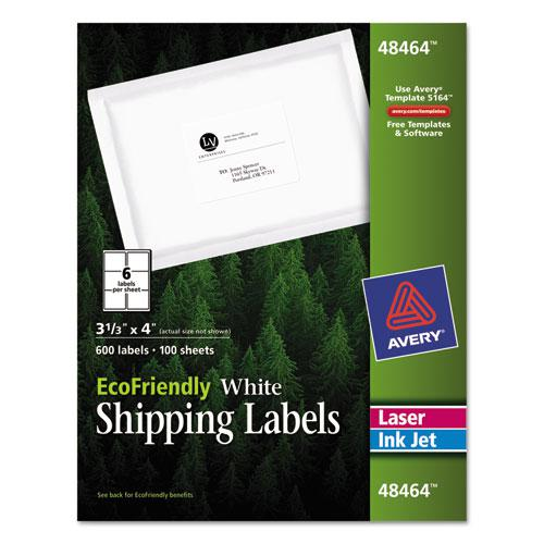 EcoFriendly Mailing Labels, Inkjet/Laser Printers, 3.33 x 4, White, 6/Sheet, 100 Sheets/Pack. Picture 1
