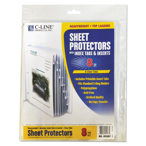 """Sheet Protectors with Index Tabs, Clear Tabs, 2"""", 11 x 8 1/2, 8/ST. Picture 3"""