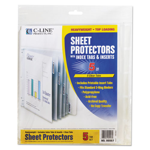 "Sheet Protectors with Index Tabs, Heavy, Clear Tabs, 2"", 11 x 8 1/2, 5/ST. Picture 3"