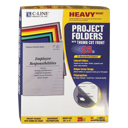 Poly Project Folders, Letter Size, Assorted Colors, 25/Box. Picture 3