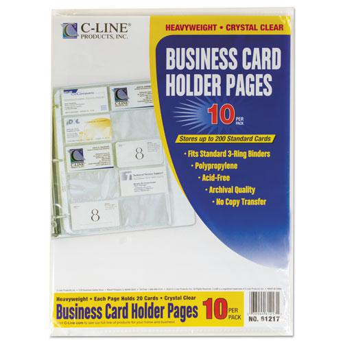 Business Card Binder Pages, Holds 20 Cards, 8 1/8 x 11 1/4, Clear, 10/Pack. Picture 4