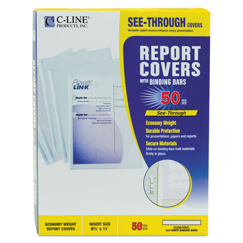Report Covers with Binding Bars, Economy Vinyl, Clear, 8 1/2 x 11, 50/BX. Picture 2