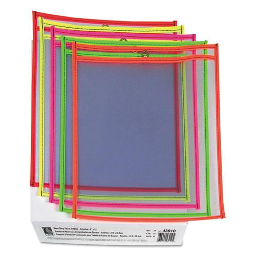 "Stitched Shop Ticket Holders, Neon, Assorted 5 Colors, 75"", 9 x 12, 25/BX. Picture 4"
