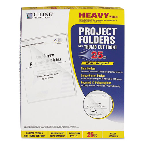 Poly Project Folders, Letter Size, Clear, 25/Box. Picture 4