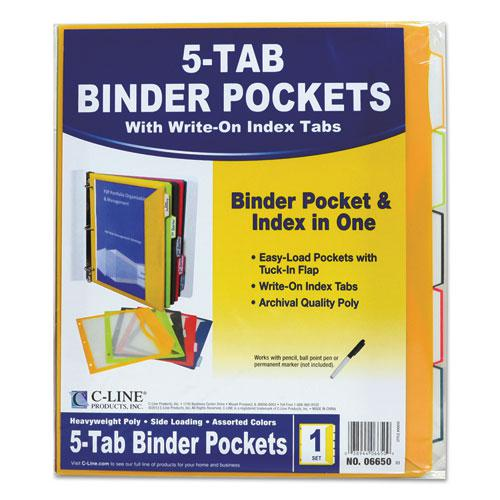Binder Pocket With Write-On Index Tabs, 9.88 x 11.38, Assorted, 5/Set. Picture 5