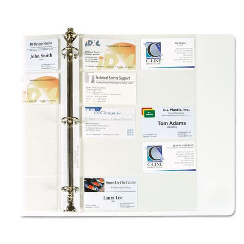 Business Card Binder Pages, Holds 20 Cards, 8 1/8 x 11 1/4, Clear, 10/Pack. Picture 2