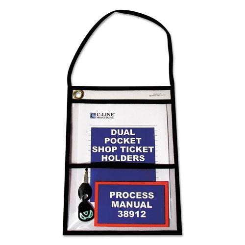 2-Pocket Shop Ticket Holder w/Strap, Black Stitching, 150-Sheet, 9 x 12, 15/Box. Picture 1