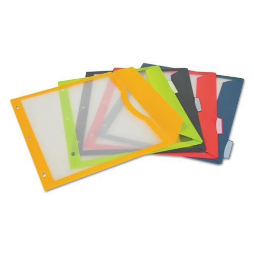 Binder Pocket With Write-On Index Tabs, 9.88 x 11.38, Assorted, 5/Set. Picture 3