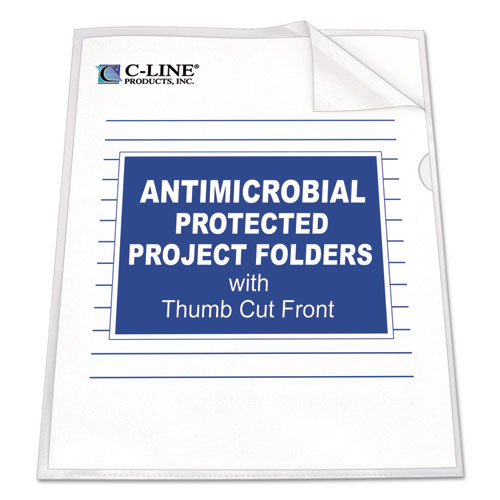 Antimicrobial Protected Poly Project Folders, Letter Size, Clear, 25/Box. Picture 1
