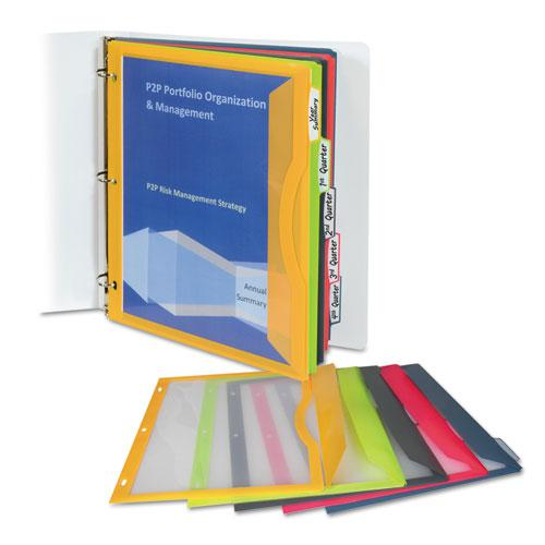 Binder Pocket With Write-On Index Tabs, 9.88 x 11.38, Assorted, 5/Set. Picture 1