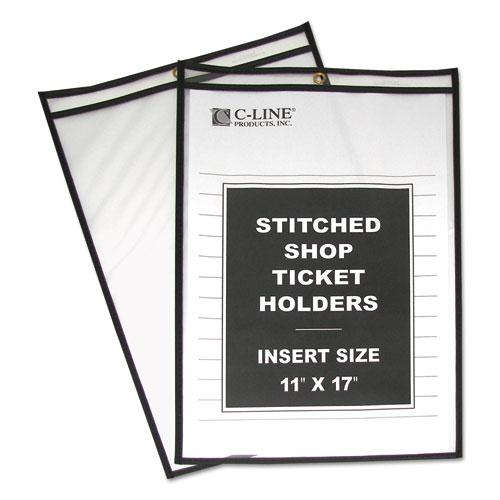 """Shop Ticket Holders, Stitched, Both Sides Clear, 75"""", 11 x 17, 25/Box. Picture 1"""