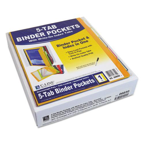 Binder Pocket With Write-On Index Tabs, 9.88 x 11.38, Assorted, 5/Set. Picture 4