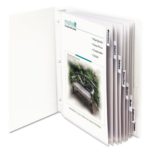 """Sheet Protectors with Index Tabs, Clear Tabs, 2"""", 11 x 8 1/2, 8/ST. Picture 1"""