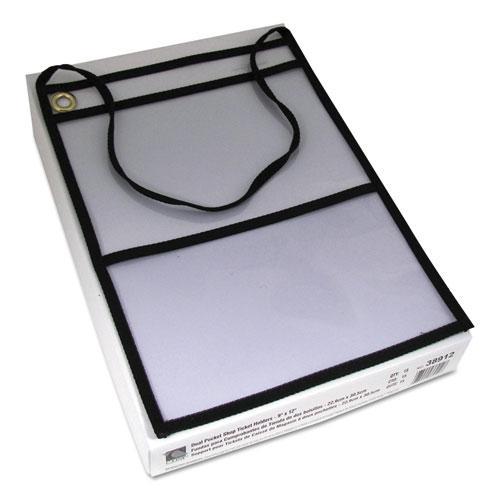 2-Pocket Shop Ticket Holder w/Strap, Black Stitching, 150-Sheet, 9 x 12, 15/Box. Picture 3