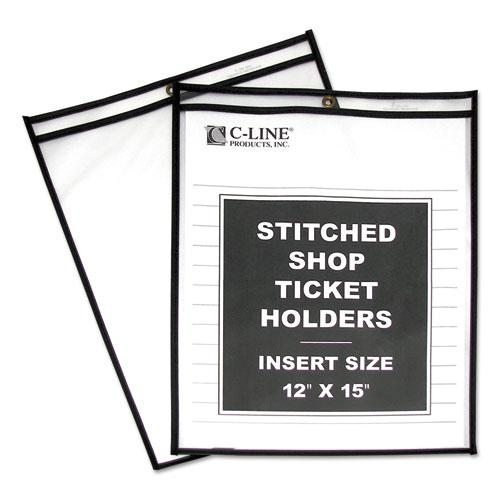 """Shop Ticket Holders, Stitched, Both Sides Clear, 75"""", 12 x 15, 25/BX. Picture 1"""