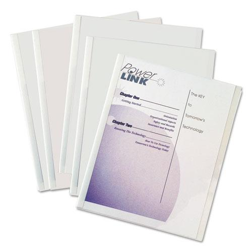 Report Covers with Binding Bars, Economy Vinyl, Clear, 8 1/2 x 11, 50/BX. Picture 1