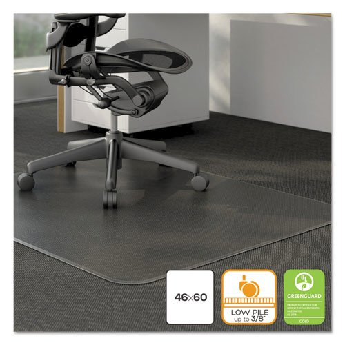 Moderate Use Studded Chair Mat for Low Pile Carpet, 46 x 60, Rectangular, Clear. Picture 3