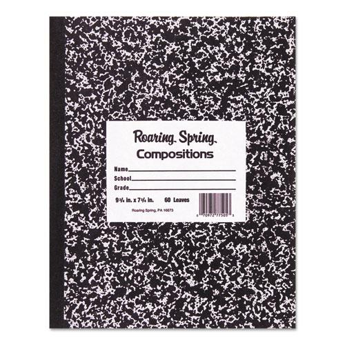 Marble Cover Composition Book, Wide/Legal Rule, Black Cover, 8.5 x 7, 48 Sheets. Picture 1
