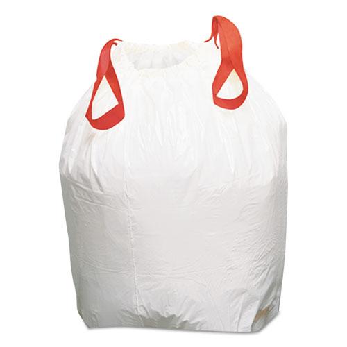 Drawstring Kitchen Bags, 13 gal, 0.8 mil, White, 100/Carton. Picture 1