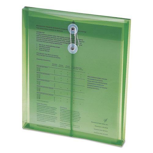 Poly String and Button Interoffice Envelopes, String and Button Closure, 9.75 x 11.63, Transparent Green, 5/Pack. Picture 4