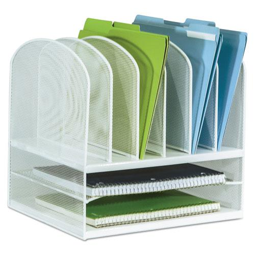 """Onyx Mesh Desk Organizer with Two Horizontal and Six Upright Sections, Letter Size Files, 13.25"""" x 11.5"""" x 13"""", White. Picture 2"""