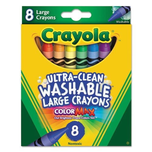 Ultra-Clean Washable Crayons, Large, 8 Colors/Box. Picture 1
