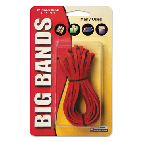 """Big Bands Rubber Bands, Size 117B, 0.06"""" Gauge, Red, 12/Pack. Picture 1"""