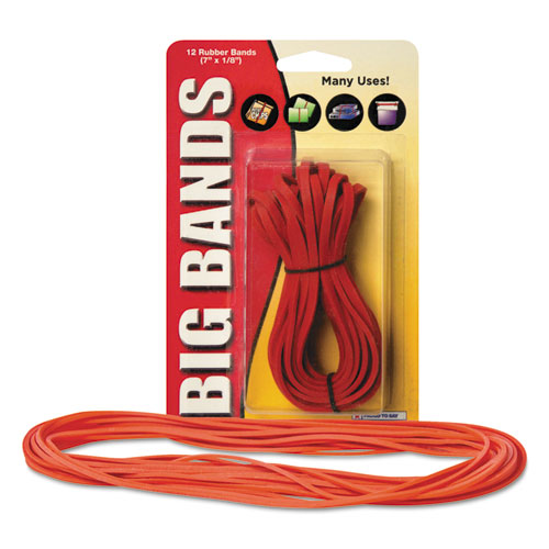 """Big Bands Rubber Bands, Size 117B, 0.06"""" Gauge, Red, 12/Pack. Picture 2"""