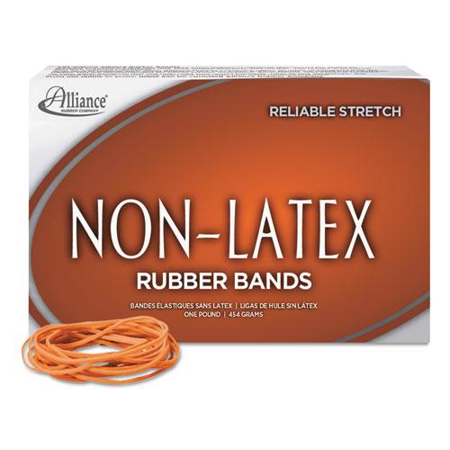 "Non-Latex Rubber Bands, Size 19, 0.04"" Gauge, Orange, 1 lb Box, 1,440/Box. Picture 1"