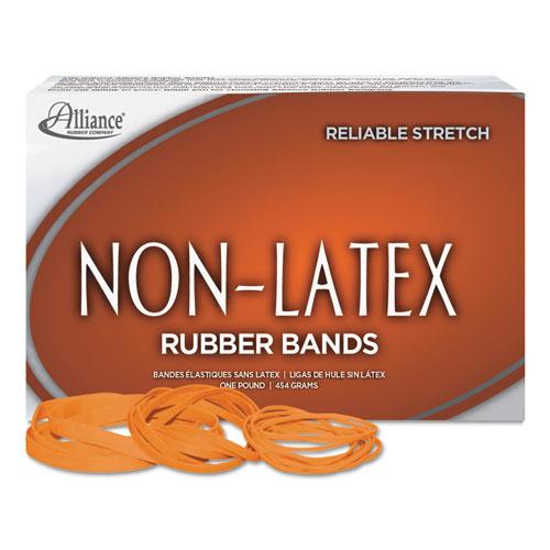 "Non-Latex Rubber Bands, Size 117B, 0.04"" Gauge, Orange, 1 lb Box, 250/Box. Picture 1"