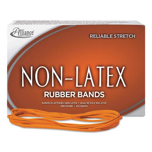 "Non-Latex Rubber Bands, Size 117B, 0.04"" Gauge, Orange, 1 lb Box, 250/Box. Picture 2"