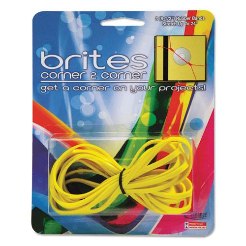 """Brites Corner-To-Corner Rubber Bands, 0.63"""" x 8.5"""", 2180 psi Max Elasticity, Yellow, 3/Pack. Picture 1"""