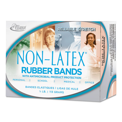 "Antimicrobial Non-Latex Rubber Bands, Size 117B, 0.06"" Gauge, Cyan Blue, 4 oz Box, 62/Box. Picture 2"