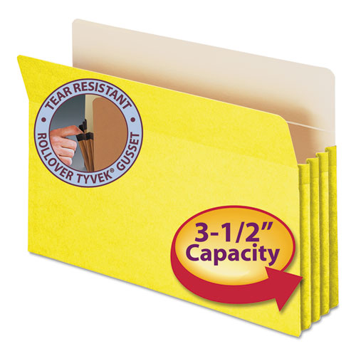 """Colored File Pockets, 3.5"""" Expansion, Legal Size, Yellow. Picture 1"""