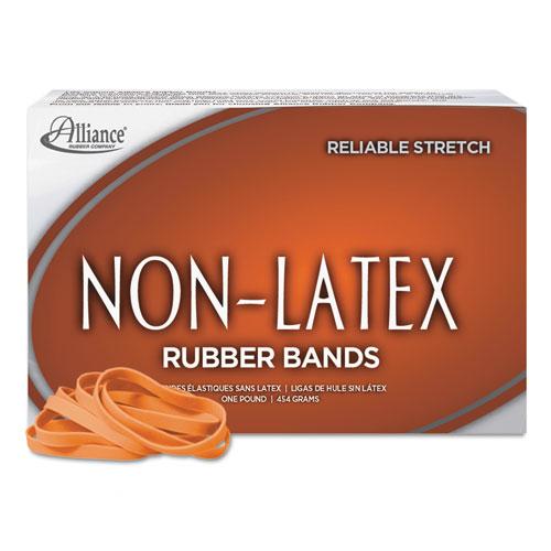 "Non-Latex Rubber Bands, Size 64, 0.04"" Gauge, Orange, 1 lb Box, 380/Box. Picture 2"