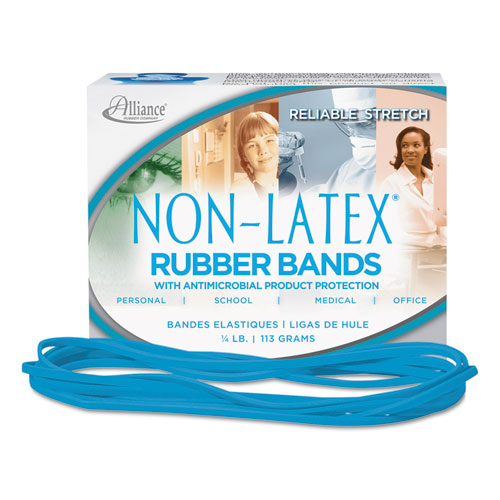 "Antimicrobial Non-Latex Rubber Bands, Size 117B, 0.06"" Gauge, Cyan Blue, 4 oz Box, 62/Box. Picture 3"