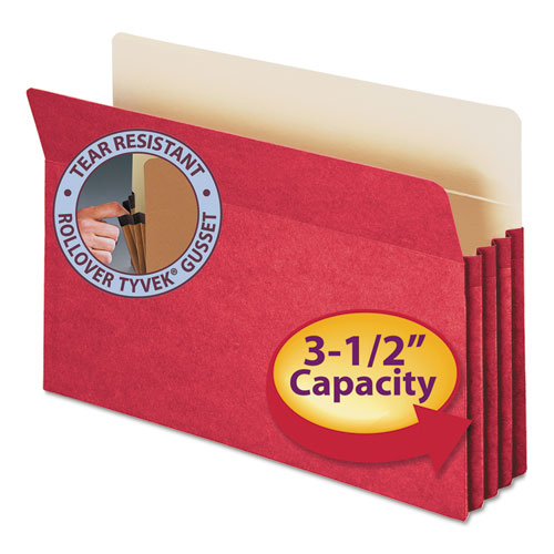 """Colored File Pockets, 3.5"""" Expansion, Legal Size, Red. Picture 1"""