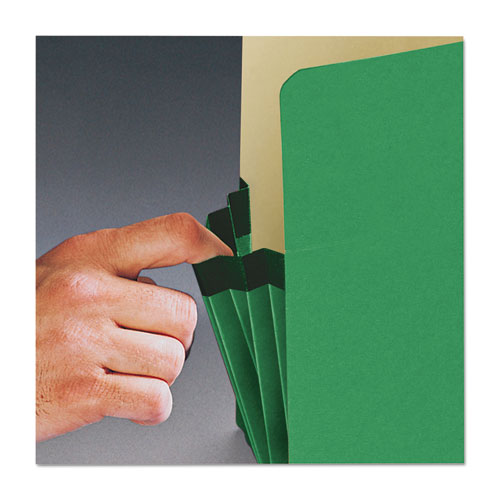 """Colored File Pockets, 5.25"""" Expansion, Letter Size, Green. Picture 4"""