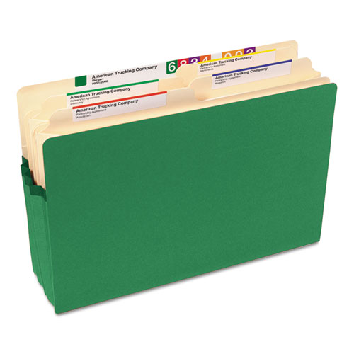 """Colored File Pockets, 3.5"""" Expansion, Legal Size, Green. Picture 2"""