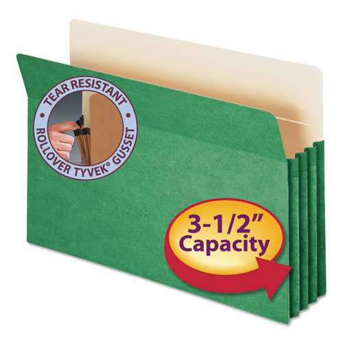 """Colored File Pockets, 3.5"""" Expansion, Legal Size, Green. Picture 1"""