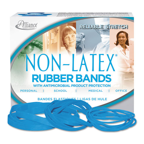 "Antimicrobial Non-Latex Rubber Bands, Size 117B, 0.06"" Gauge, Cyan Blue, 4 oz Box, 62/Box. Picture 1"