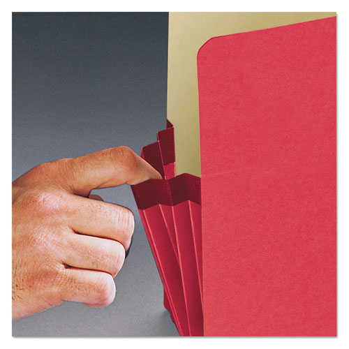 """Colored File Pockets, 3.5"""" Expansion, Legal Size, Red. Picture 4"""