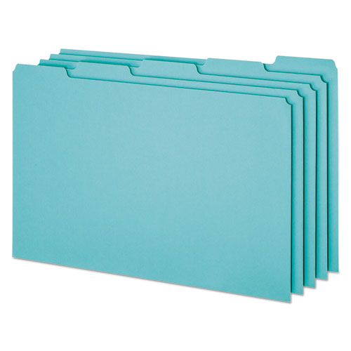 Blank Top Tab File Guides, 1/5-Cut Top Tab, Blank, 8.5 x 14, Blue, 50/Box. Picture 1