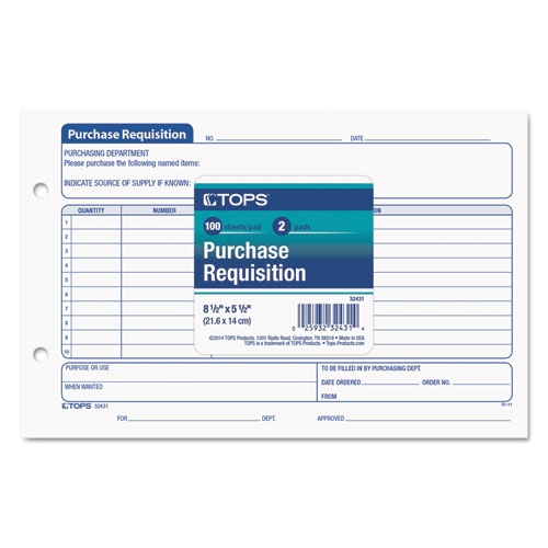 Purchasing Requisition Pad, 5 1/2 x 8 1/2, 100/Pad, 2/Pack. Picture 2