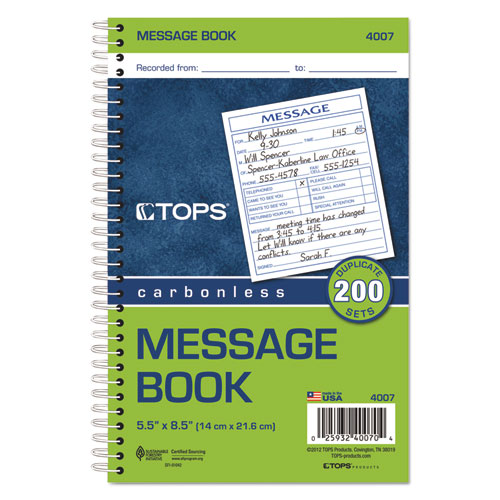 Spiralbound Message Book, 4 1/4 x 5, Carbonless Duplicate, 200 Sets/Book. Picture 2